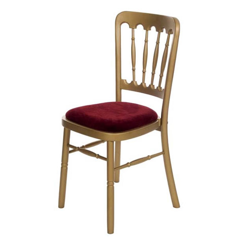 Fiesta Chair Gold. Seat pads available in green, blue, black, gold or ivory