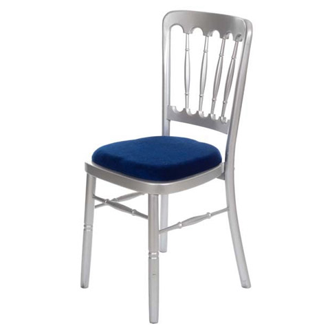 Fiesta Chair Silver. Seat pads available in green, blue, black, gold or ivory