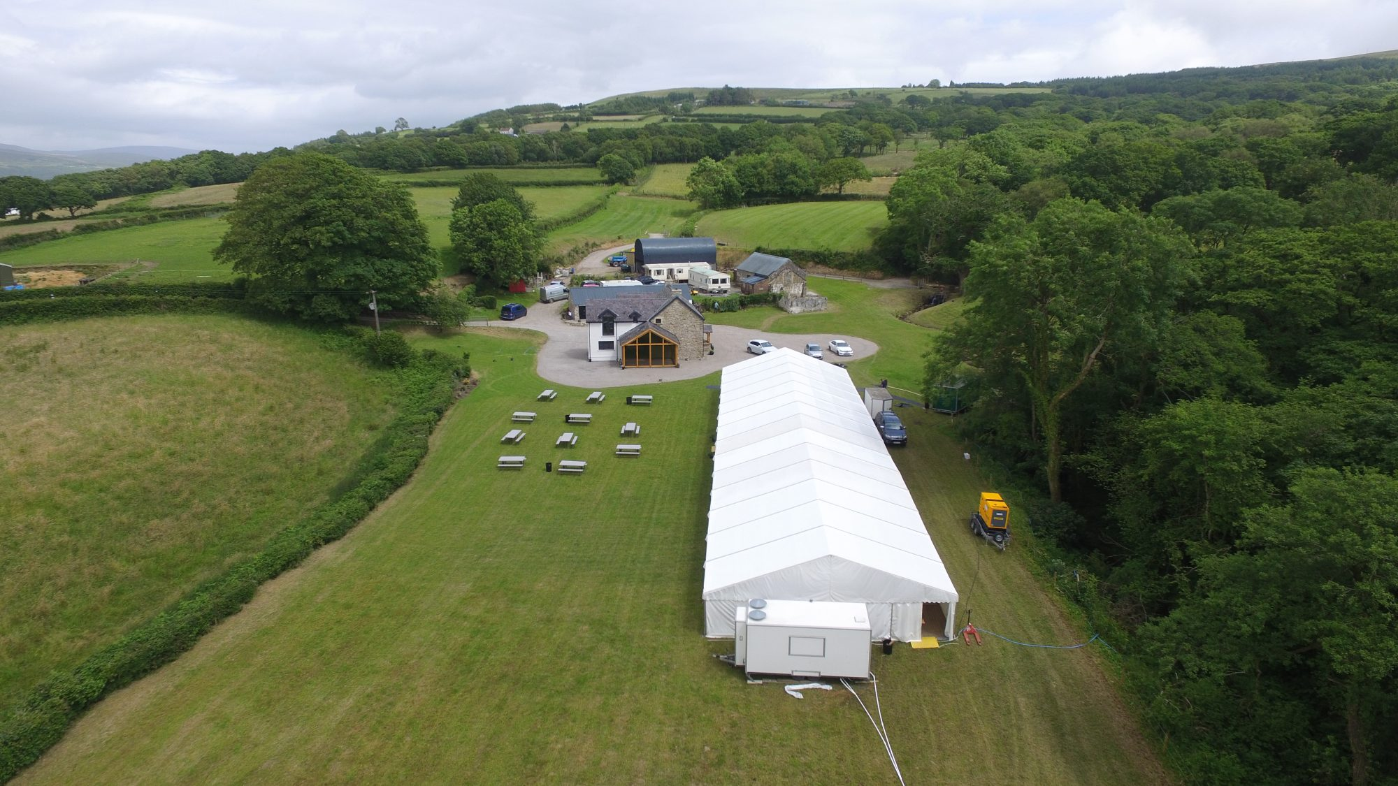 Aerial view of wedding marquee